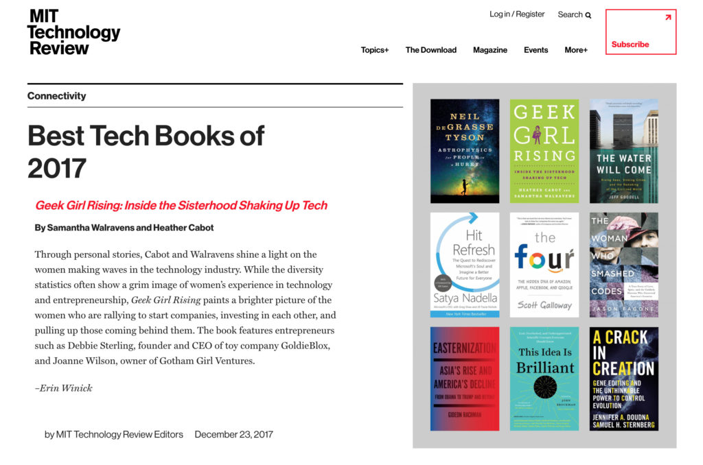MIT Technology Review Best Tech Books of 2017