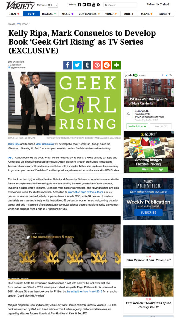Variety Kelly Ripa, Mark Consuelos to Develop Book 'Geek Girl Rising' as TV Series (EXCLUSIVE)