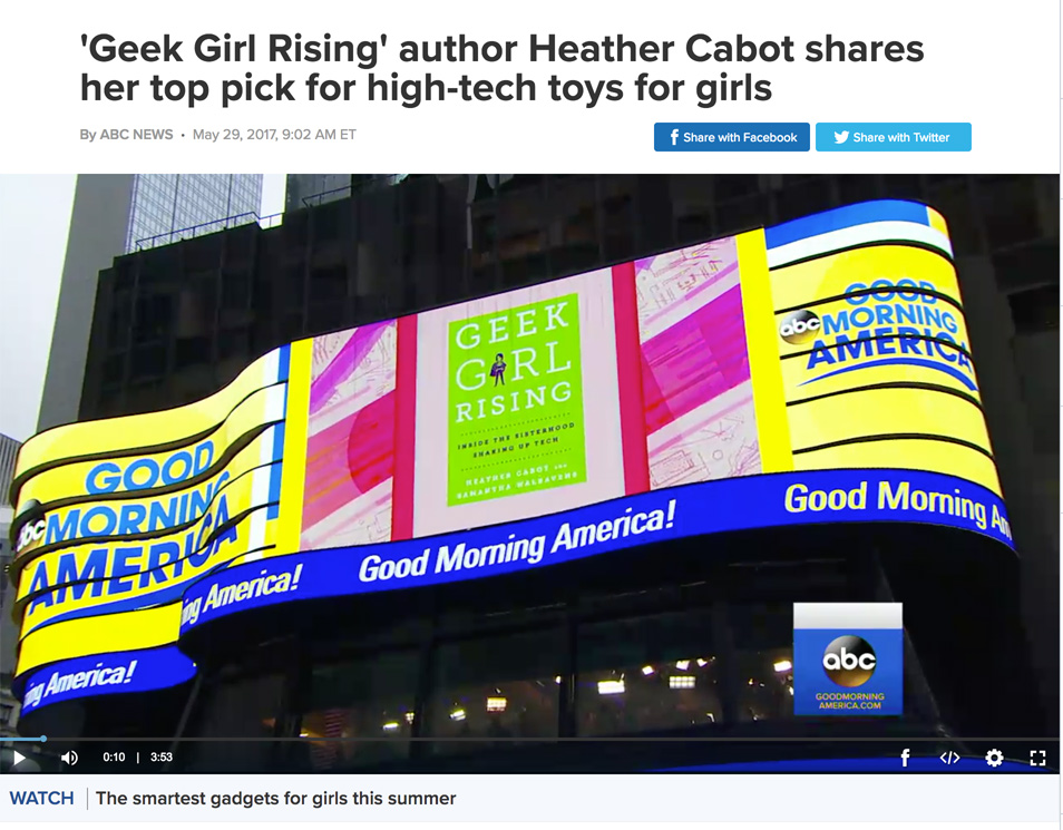 Good Morning America 'Geek Girl Rising' author Heather Cabot shares her top pick for high-tech toys for girls