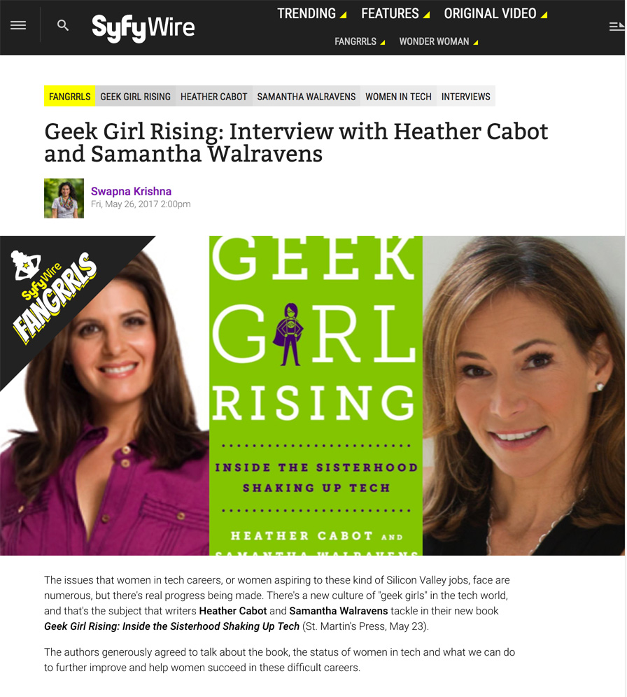 SyFy Wire Geek Girl Rising: Interview with Heather Cabot and Samantha Walravens